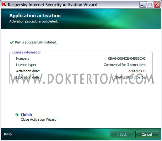 Kaspersky Activation Procedure Completed